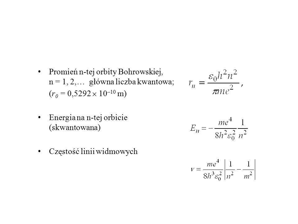 Promień n-tej orbity Bohrowskiej, n = 1, 2,… główna liczba kwantowa;