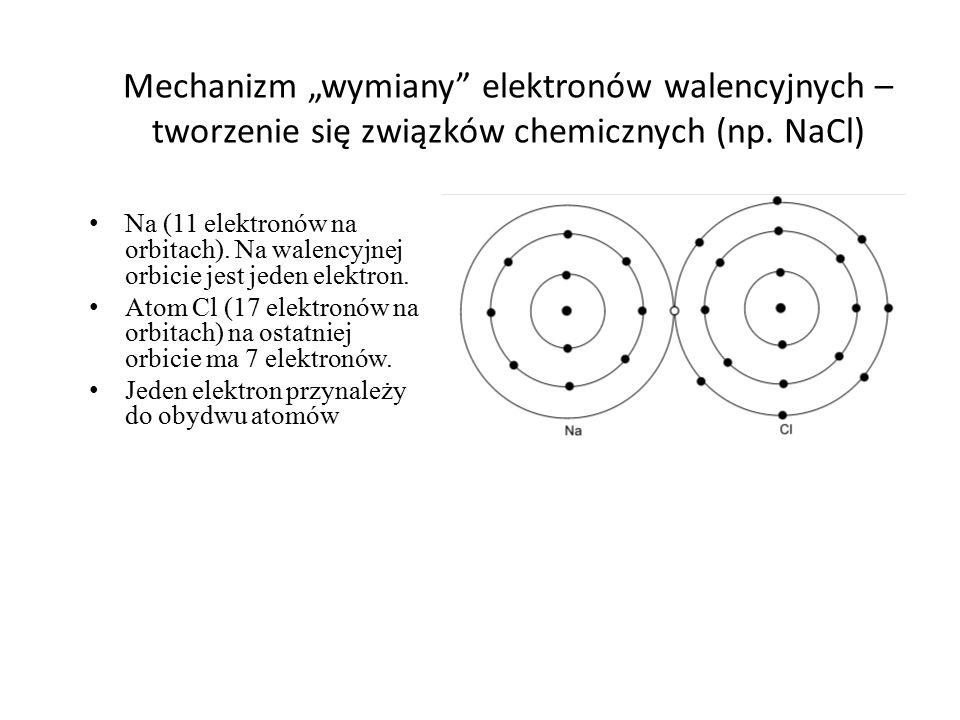 """Mechanizm """"wymiany elektronów walencyjnych – tworzenie się związków chemicznych (np. NaCl)"""