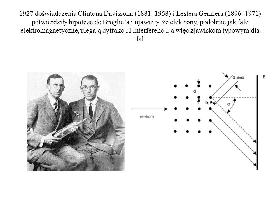 1927 doświadczenia Clintona Davissona (1881–1958) i Lestera Germera (1896–1971) potwierdziły hipotezę de Broglie'a i ujawniły, że elektrony, podobnie jak fale elektromagnetyczne, ulegają dyfrakcji i interferencji, a więc zjawiskom typowym dla fal