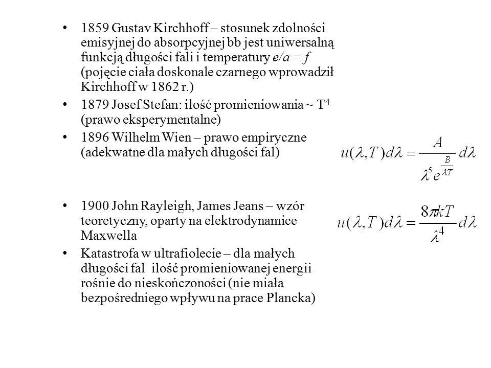 1859 Gustav Kirchhoff – stosunek zdolności emisyjnej do absorpcyjnej bb jest uniwersalną funkcją długości fali i temperatury e/a = f (pojęcie ciała doskonale czarnego wprowadził Kirchhoff w 1862 r.)