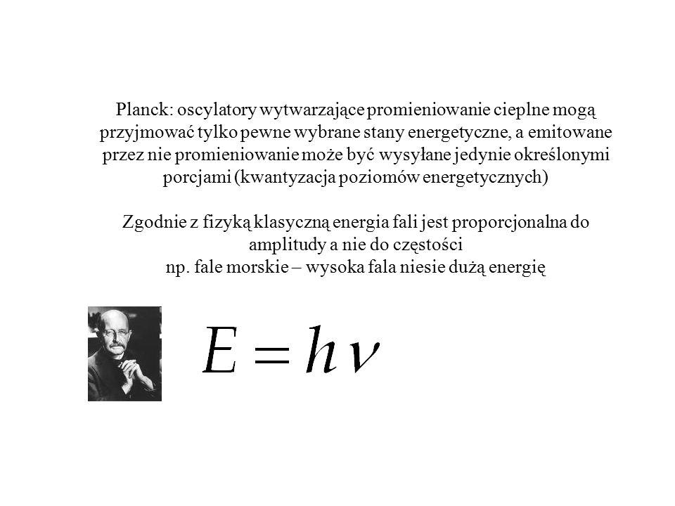 Planck: oscylatory wytwarzające promieniowanie cieplne mogą przyjmować tylko pewne wybrane stany energetyczne, a emitowane przez nie promieniowanie może być wysyłane jedynie określonymi porcjami (kwantyzacja poziomów energetycznych) Zgodnie z fizyką klasyczną energia fali jest proporcjonalna do amplitudy a nie do częstości np.