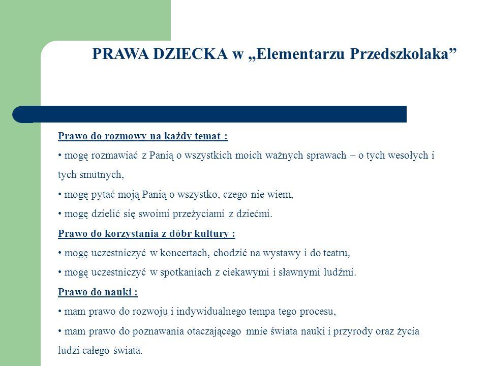 """PRAWA DZIECKA w """"Elementarzu Przedszkolaka"""