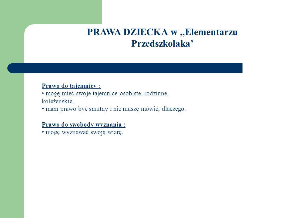 """PRAWA DZIECKA w """"Elementarzu Przedszkolaka'"""