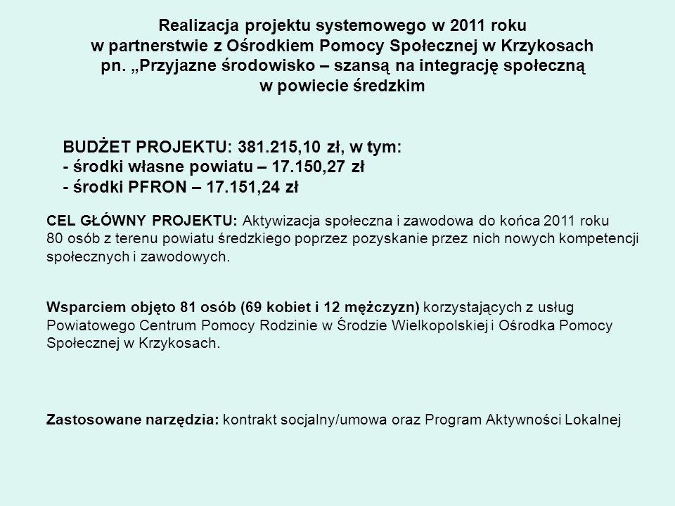"""Realizacja projektu systemowego w 2011 roku w partnerstwie z Ośrodkiem Pomocy Społecznej w Krzykosach pn. """"Przyjazne środowisko – szansą na integrację społeczną w powiecie średzkim"""