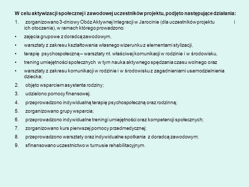 W celu aktywizacji społecznej i zawodowej uczestników projektu, podjęto następujące działania: