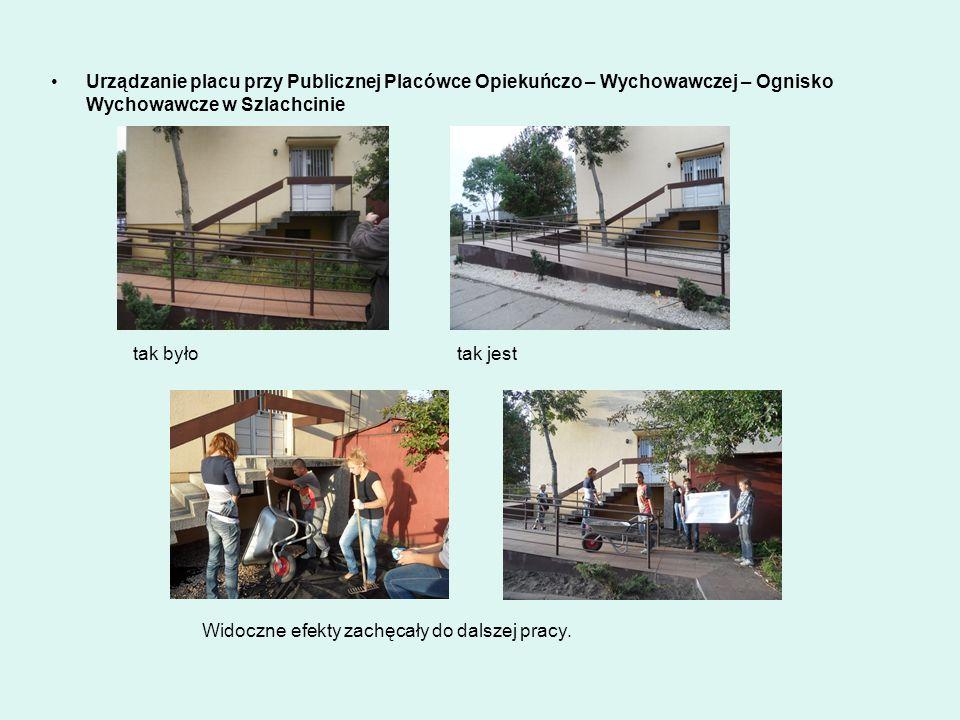 Urządzanie placu przy Publicznej Placówce Opiekuńczo – Wychowawczej – Ognisko Wychowawcze w Szlachcinie.