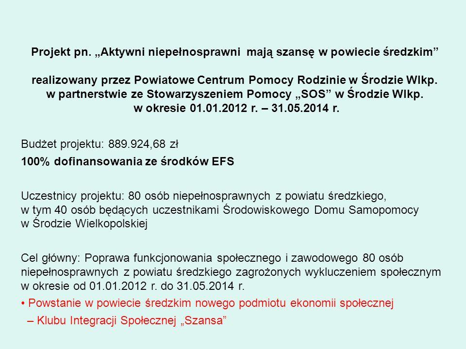 100% dofinansowania ze środków EFS