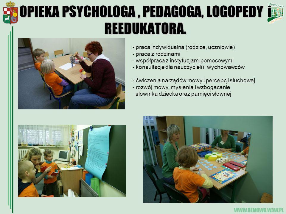 OPIEKA PSYCHOLOGA , PEDAGOGA, LOGOPEDY i REEDUKATORA.