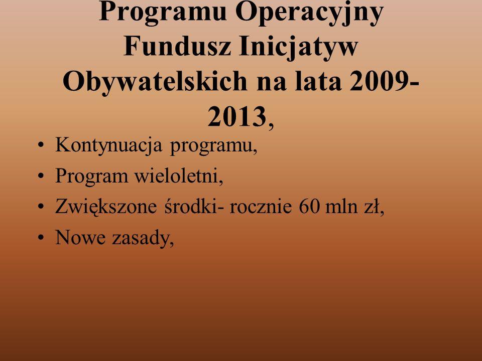 Programu Operacyjny Fundusz Inicjatyw Obywatelskich na lata 2009-2013,