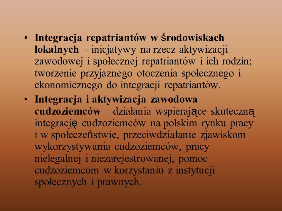 Integracja repatriantów w środowiskach lokalnych – inicjatywy na rzecz aktywizacji zawodowej i społecznej repatriantów i ich rodzin; tworzenie przyjaznego otoczenia społecznego i ekonomicznego do integracji repatriantów.