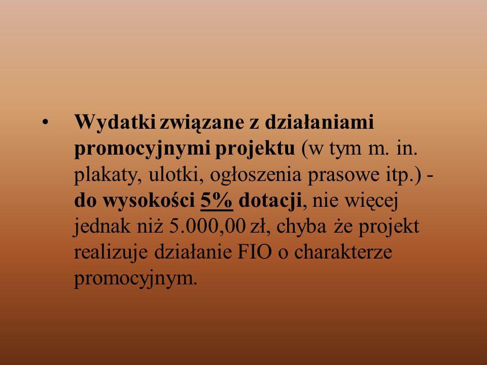 Wydatki związane z działaniami promocyjnymi projektu (w tym m. in