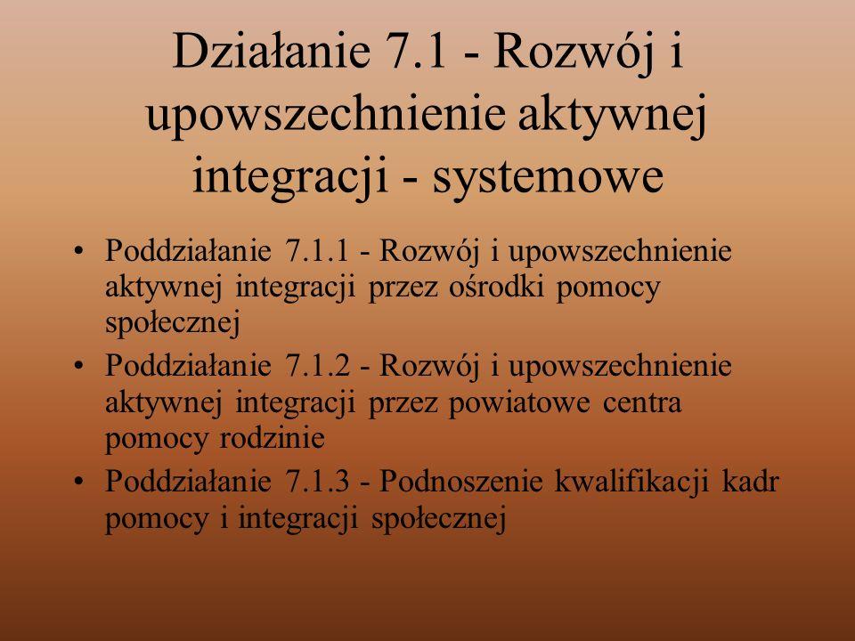 Działanie 7.1 - Rozwój i upowszechnienie aktywnej integracji - systemowe