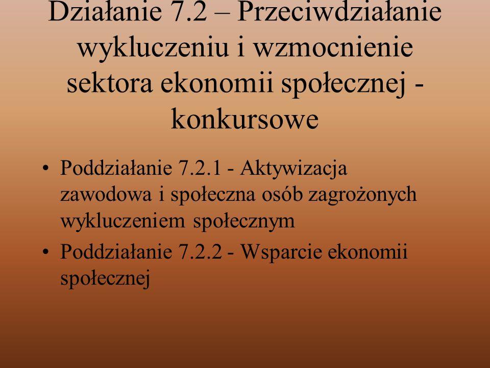 Działanie 7.2 – Przeciwdziałanie wykluczeniu i wzmocnienie sektora ekonomii społecznej - konkursowe
