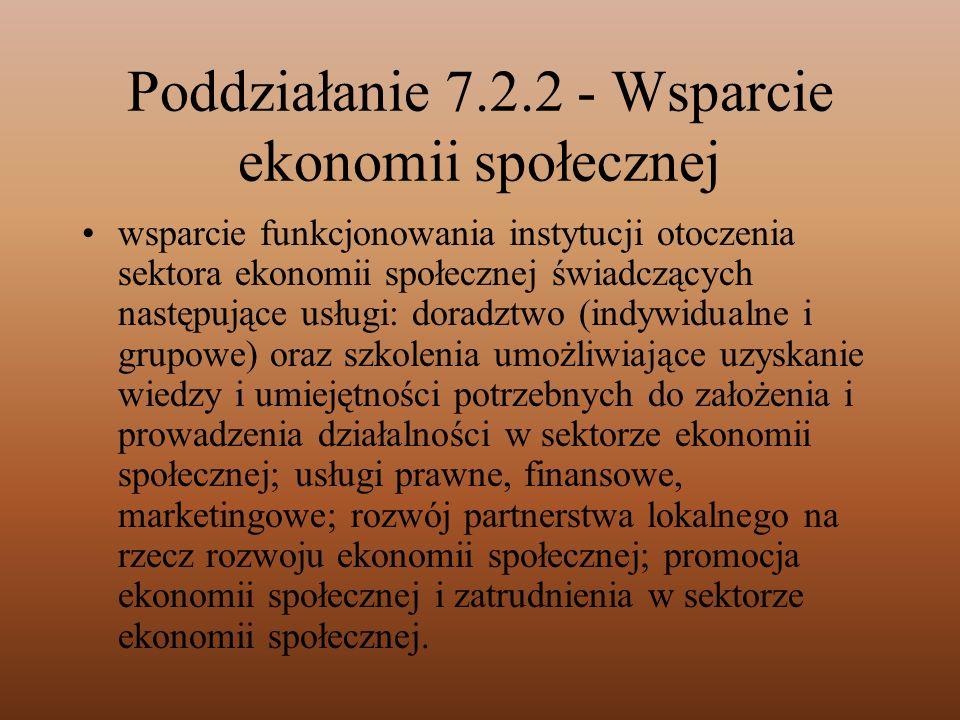 Poddziałanie 7.2.2 - Wsparcie ekonomii społecznej
