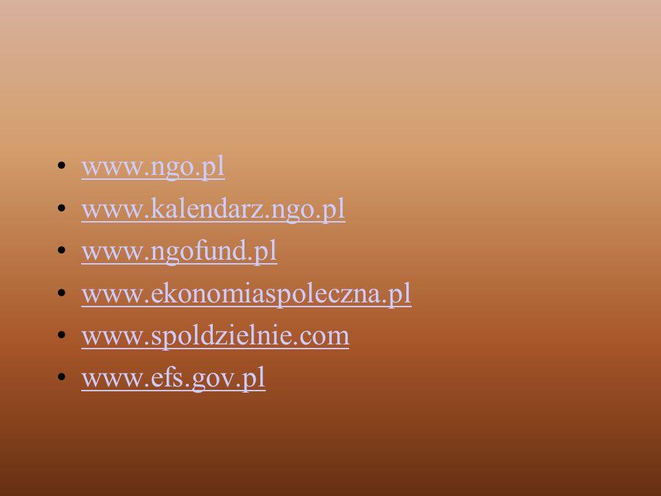 www.ngo.pl www.kalendarz.ngo.pl. www.ngofund.pl. www.ekonomiaspoleczna.pl. www.spoldzielnie.com.