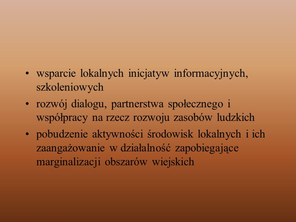 wsparcie lokalnych inicjatyw informacyjnych, szkoleniowych