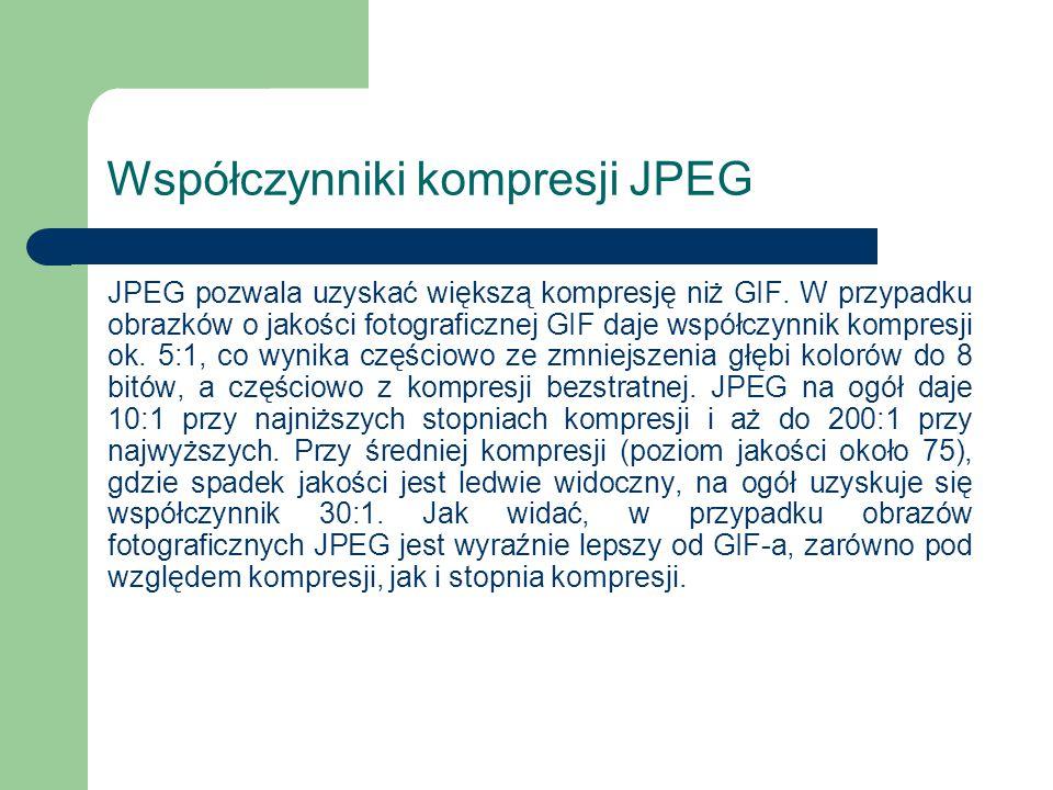 Współczynniki kompresji JPEG