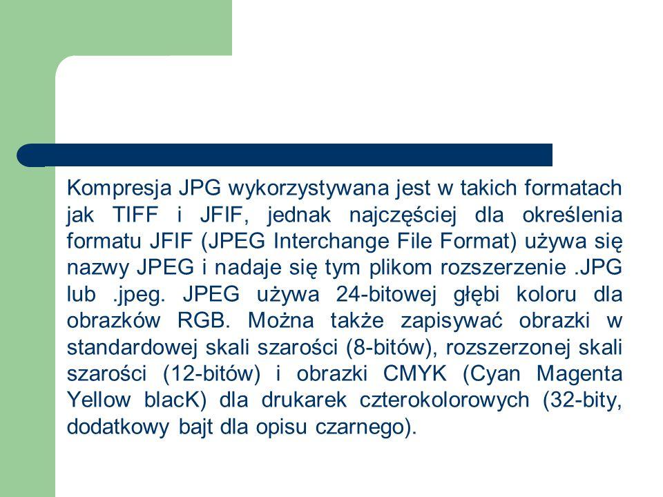 Kompresja JPG wykorzystywana jest w takich formatach jak TIFF i JFIF, jednak najczęściej dla określenia formatu JFIF (JPEG Interchange File Format) używa się nazwy JPEG i nadaje się tym plikom rozszerzenie .JPG lub .jpeg.