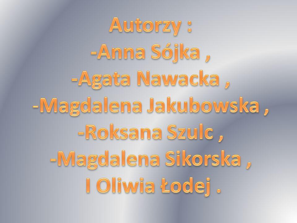 Autorzy : -Anna Sójka , -Agata Nawacka , Magdalena Jakubowska , -Roksana Szulc , -Magdalena Sikorska ,