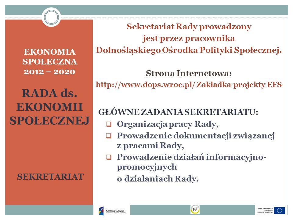 EKONOMIA SPOŁECZNA 2012 – 2020 RADA ds. EKONOMII SPOŁECZNEJ