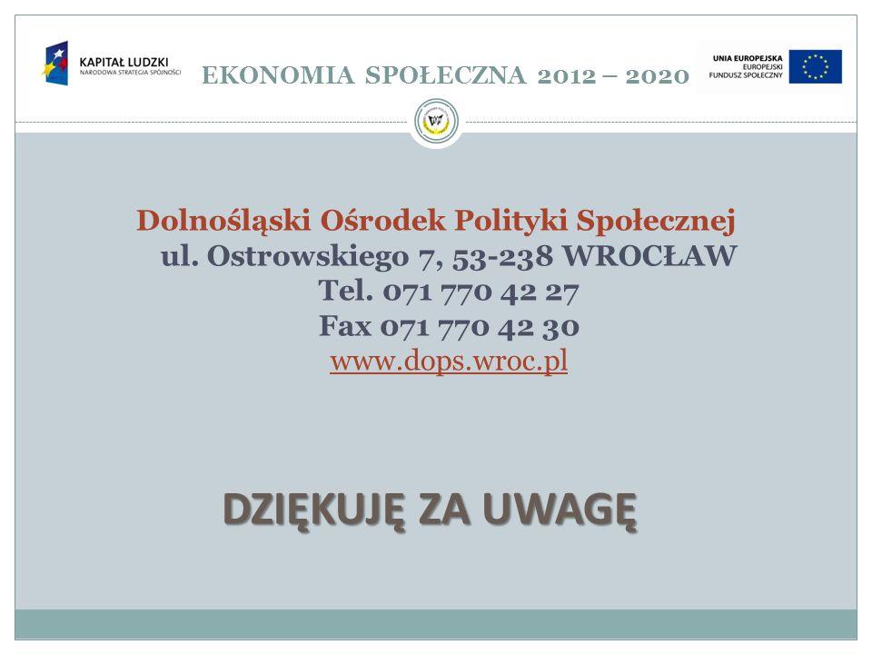 EKONOMIA SPOŁECZNA 2012 – 2020 DZIĘKUJĘ ZA UWAGĘ.