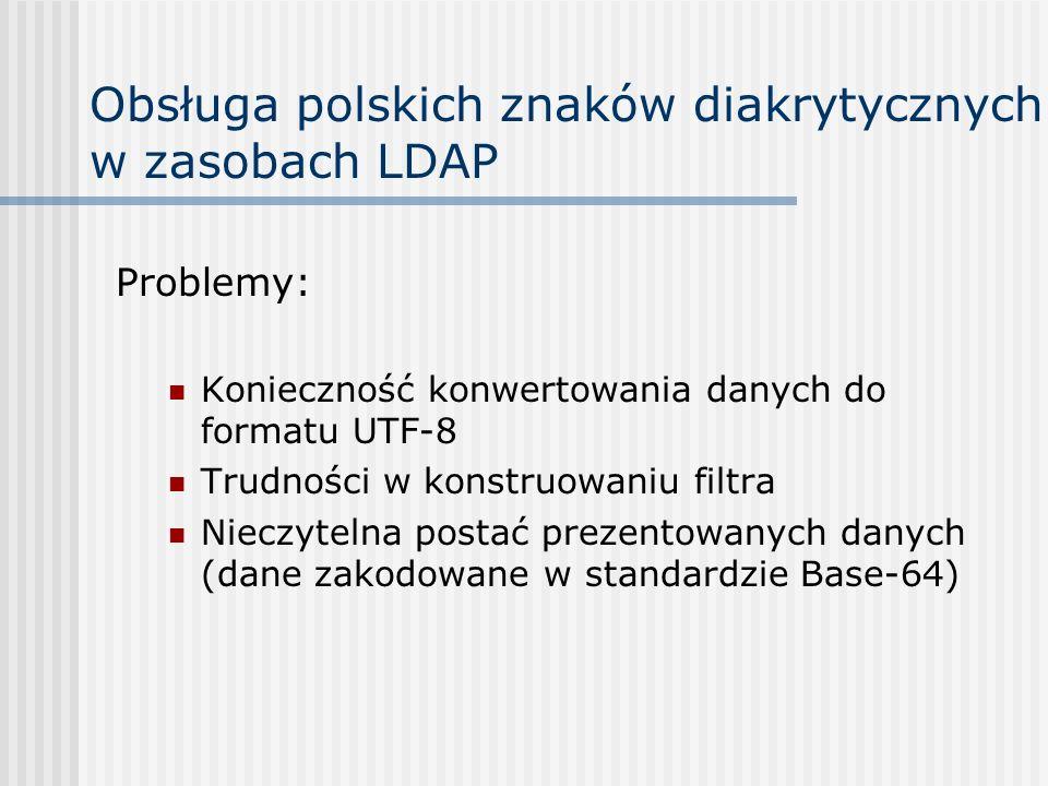 Obsługa polskich znaków diakrytycznych w zasobach LDAP