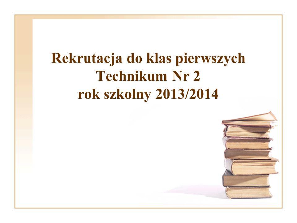 Rekrutacja do klas pierwszych Technikum Nr 2 rok szkolny 2013/2014