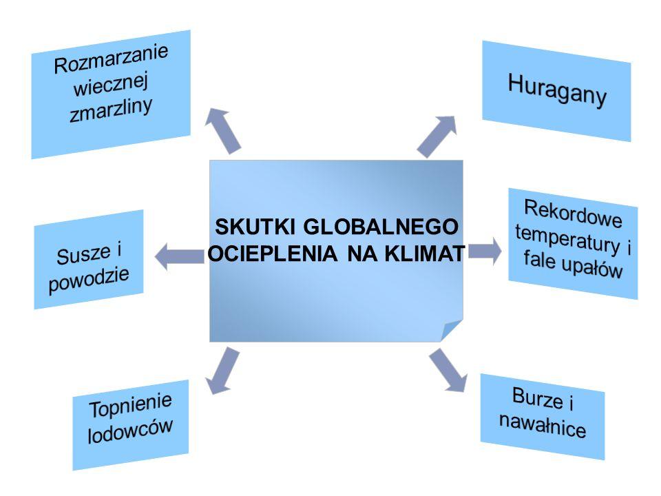 Huragany Rozmarzanie wiecznej zmarzliny SKUTKI GLOBALNEGO