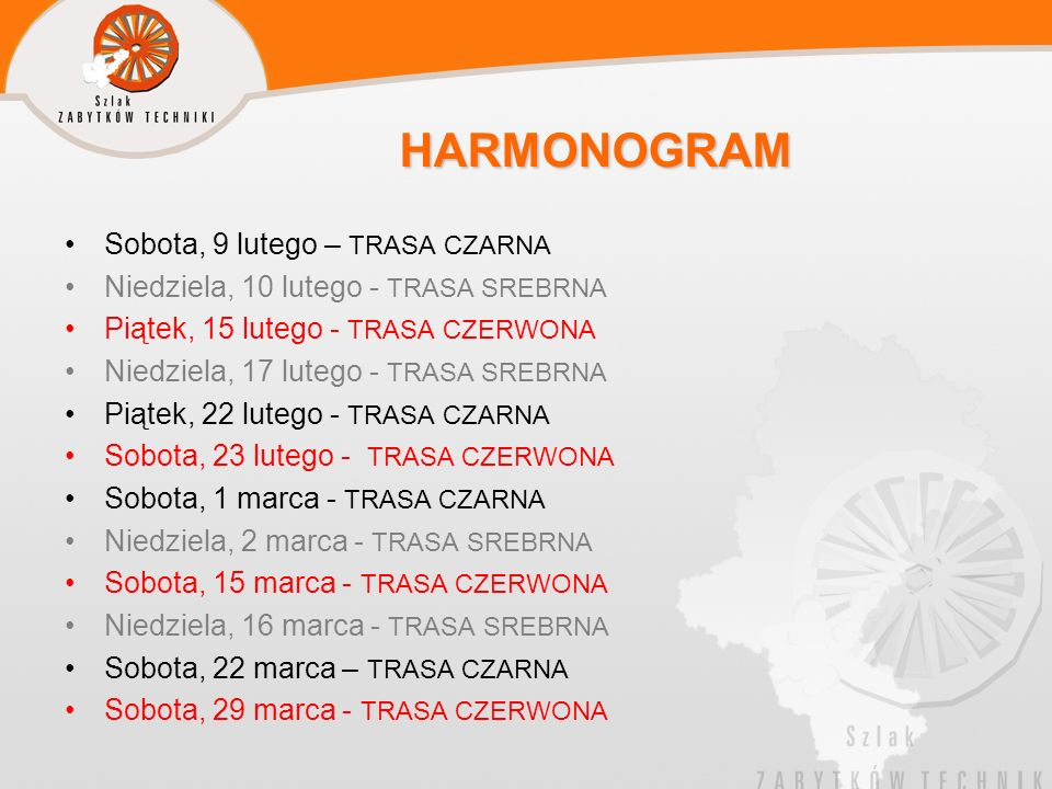 HARMONOGRAM Sobota, 9 lutego – TRASA CZARNA