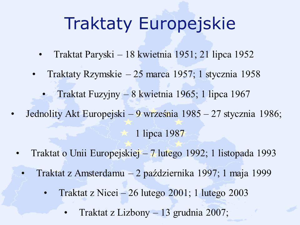 Traktaty Europejskie Traktat Paryski – 18 kwietnia 1951; 21 lipca 1952