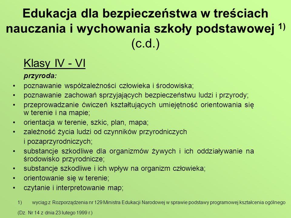 Edukacja dla bezpieczeństwa w treściach nauczania i wychowania szkoły podstawowej 1) (c.d.)