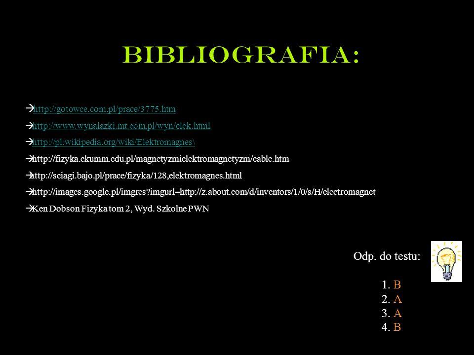 Bibliografia: Odp. do testu: 1. B 2. A 3. A 4. B