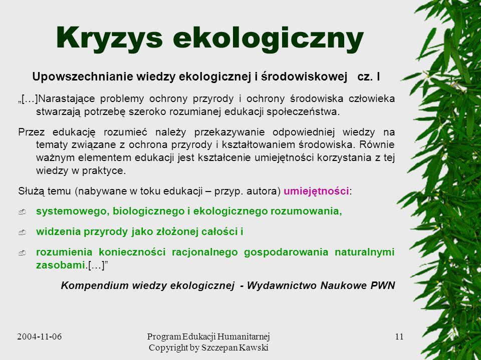 Upowszechnianie wiedzy ekologicznej i środowiskowej cz. I