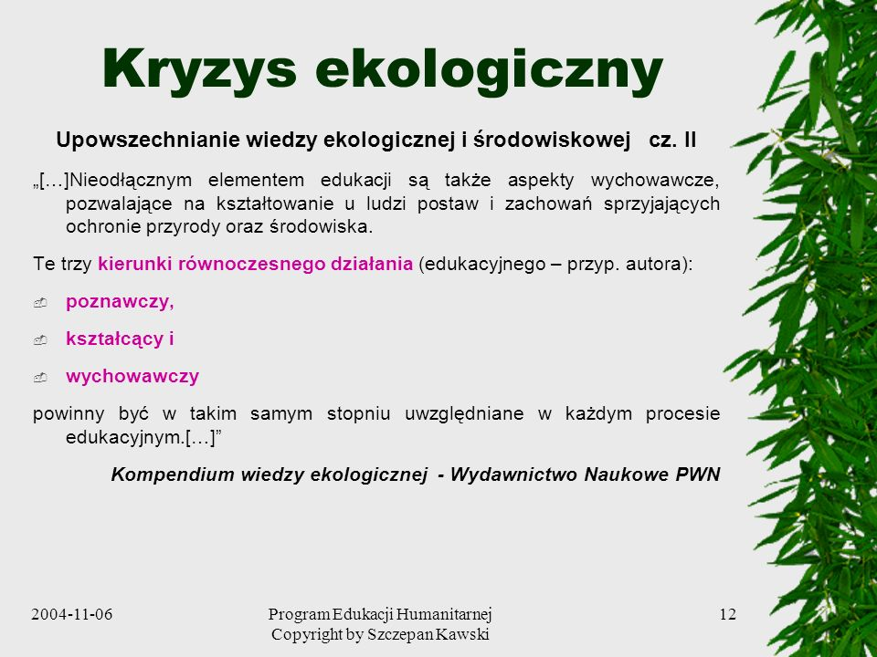 Upowszechnianie wiedzy ekologicznej i środowiskowej cz. II