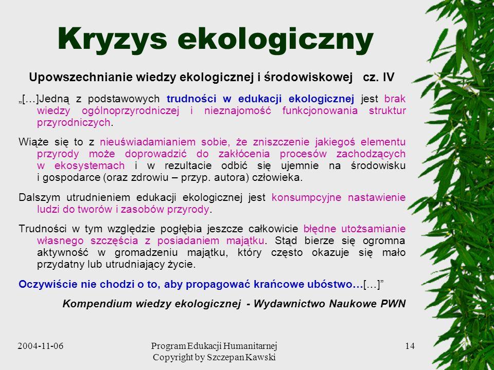 Upowszechnianie wiedzy ekologicznej i środowiskowej cz. IV