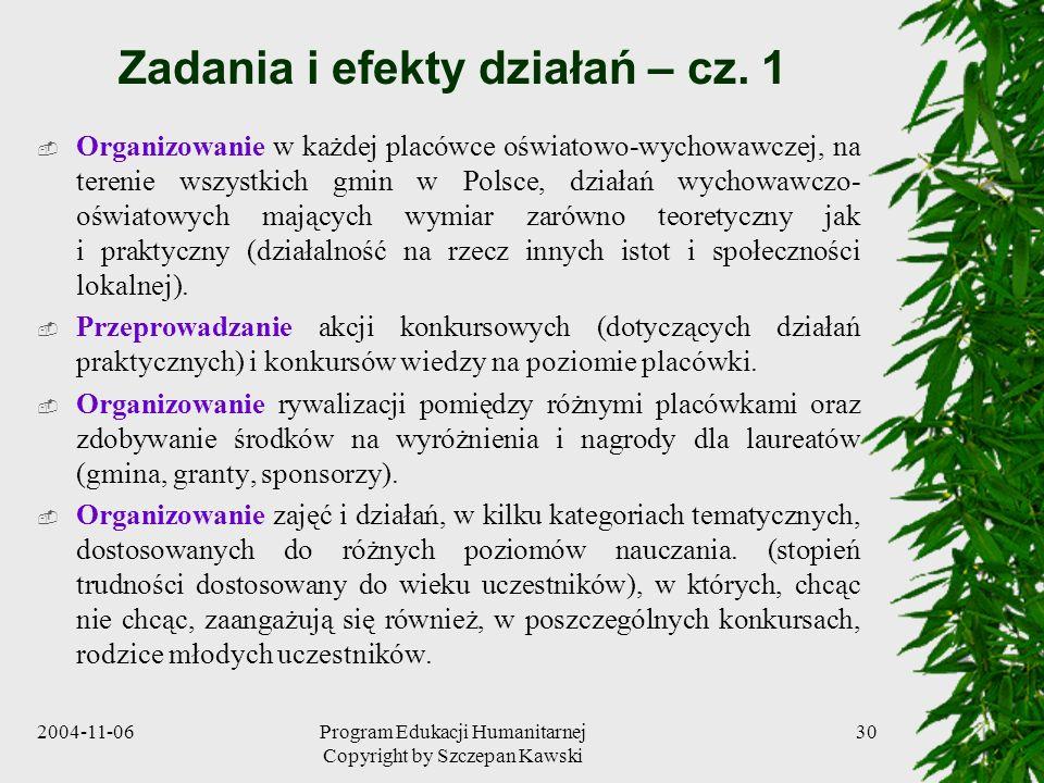 Zadania i efekty działań – cz. 1
