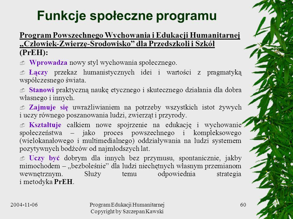 Funkcje społeczne programu