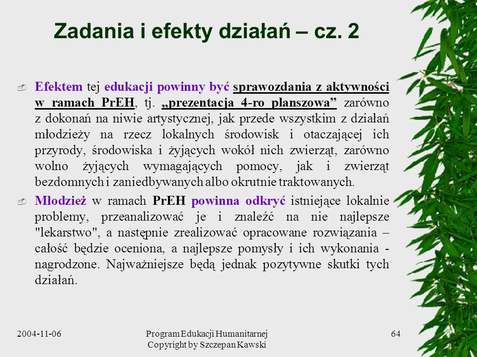 Zadania i efekty działań – cz. 2