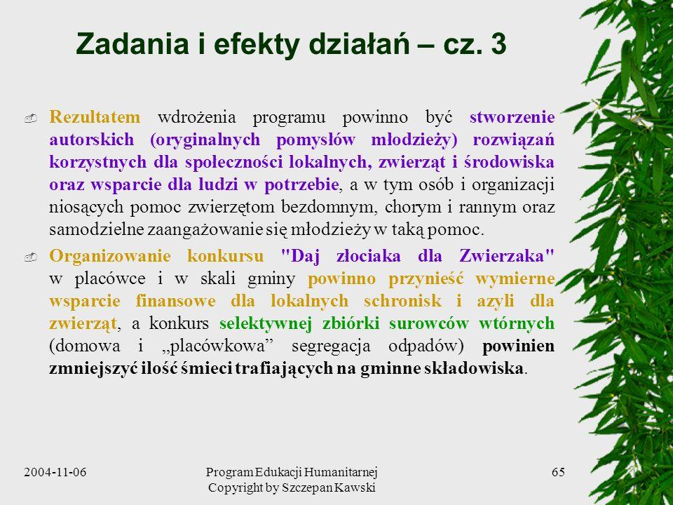 Zadania i efekty działań – cz. 3