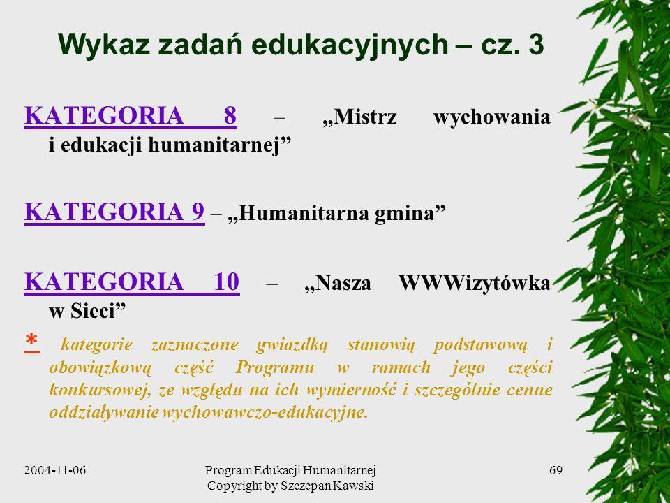 Wykaz zadań edukacyjnych – cz. 3