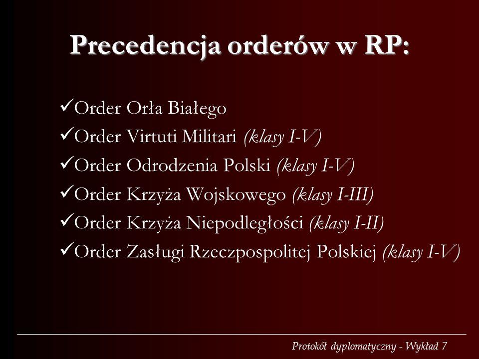 Precedencja orderów w RP: