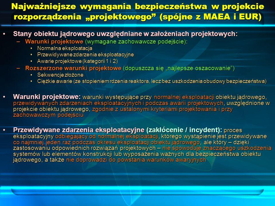 """Najważniejsze wymagania bezpieczeństwa w projekcie rozporządzenia """"projektowego (spójne z MAEA i EUR)"""