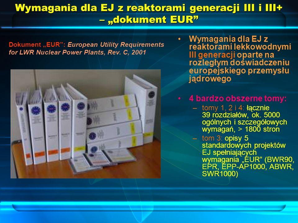 """Wymagania dla EJ z reaktorami generacji III i III+ – """"dokument EUR"""