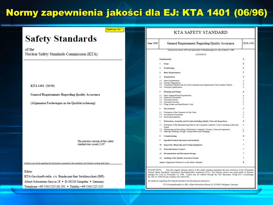 Normy zapewnienia jakości dla EJ: KTA 1401 (06/96)