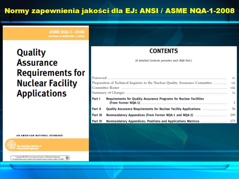 Normy zapewnienia jakości dla EJ: ANSI / ASME NQA-1-2008