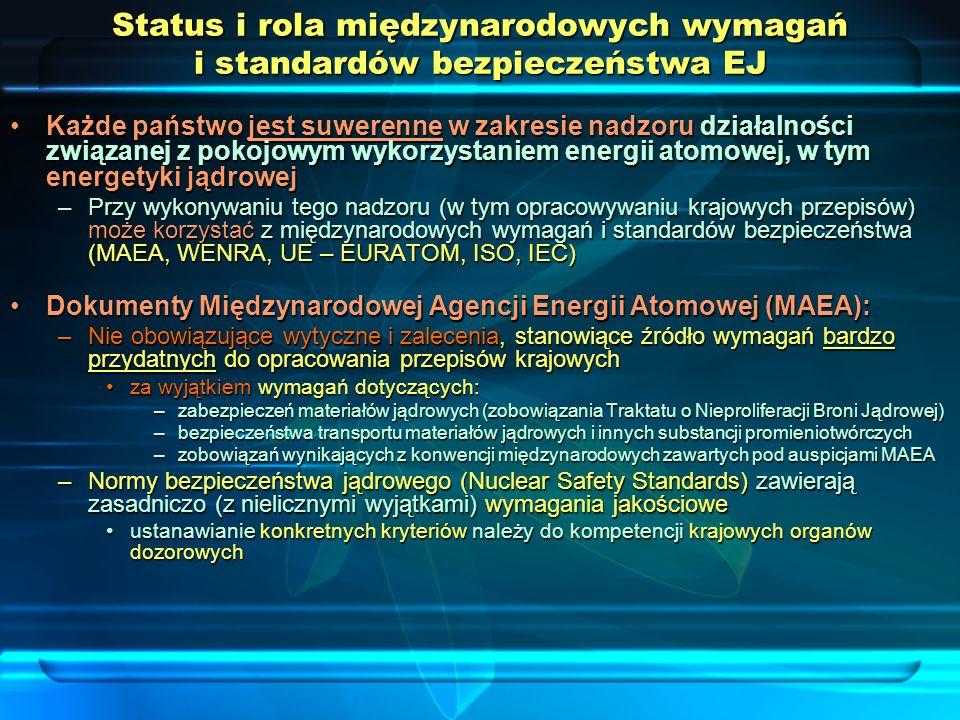 Status i rola międzynarodowych wymagań i standardów bezpieczeństwa EJ