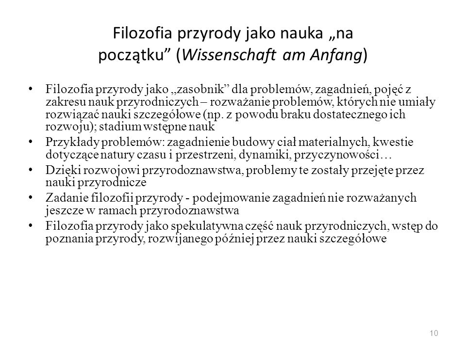 """Filozofia przyrody jako nauka """"na początku (Wissenschaft am Anfang)"""
