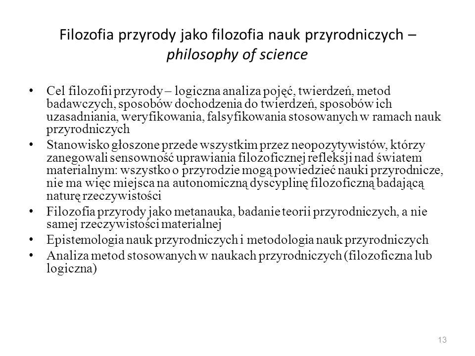 Filozofia przyrody jako filozofia nauk przyrodniczych – philosophy of science