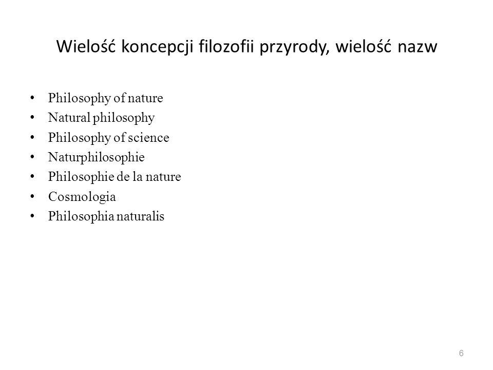 Wielość koncepcji filozofii przyrody, wielość nazw