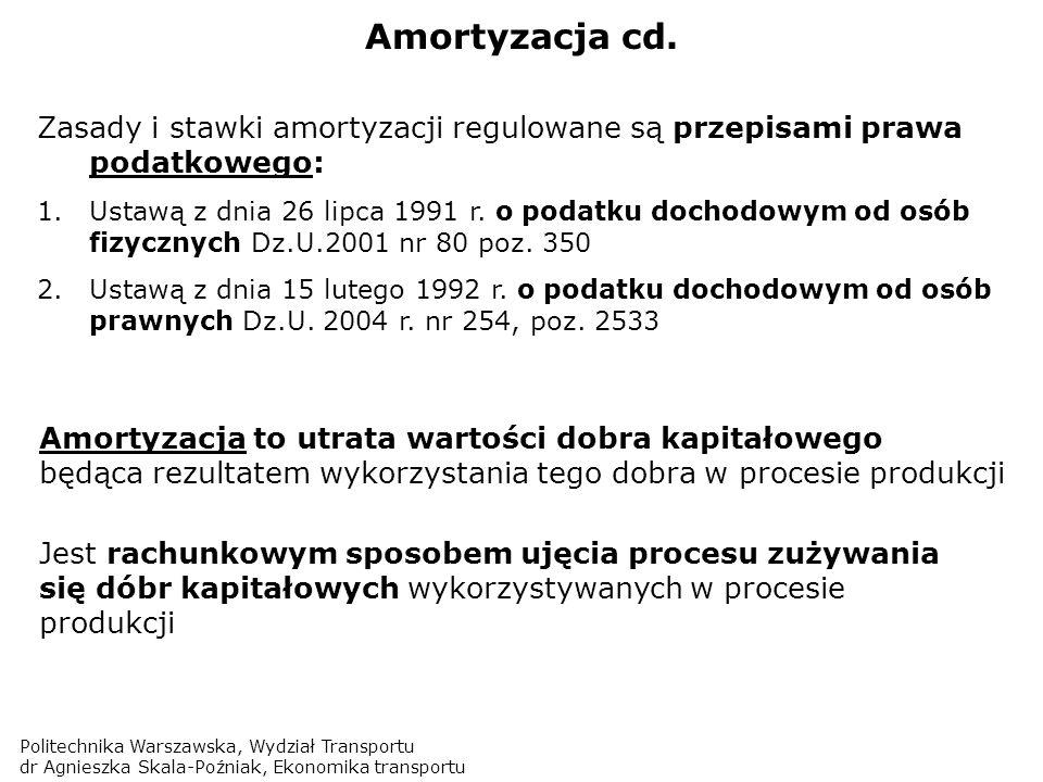 Amortyzacja cd. Zasady i stawki amortyzacji regulowane są przepisami prawa podatkowego: